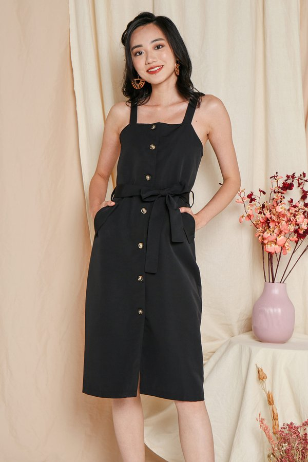 Pinned Up Style Pinafore Button Midi Dress