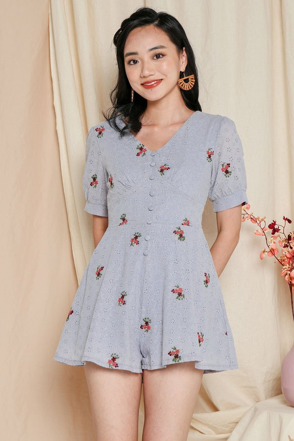 Eyelets Happy Place Button Romper Blue Grey