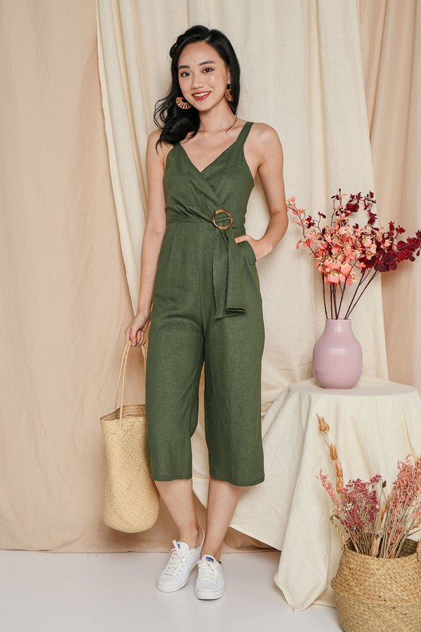 Wrapped Tonal Rush Linen Jumpsuit Olive Green