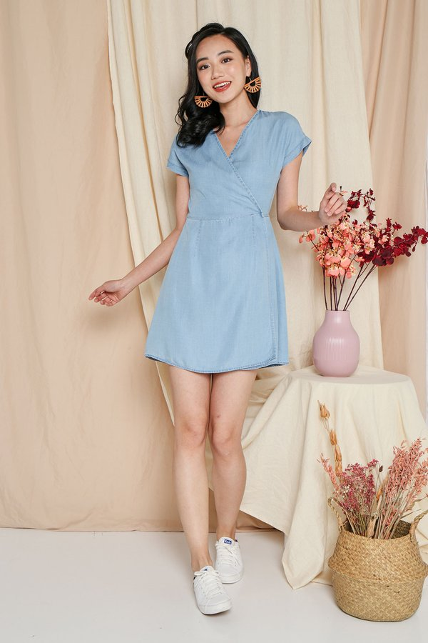 Denim Fling Wrap Dress