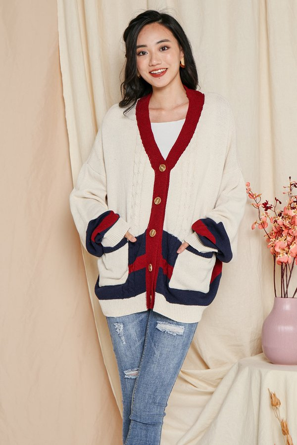 Varsity Unison Knit Cardigan Cream