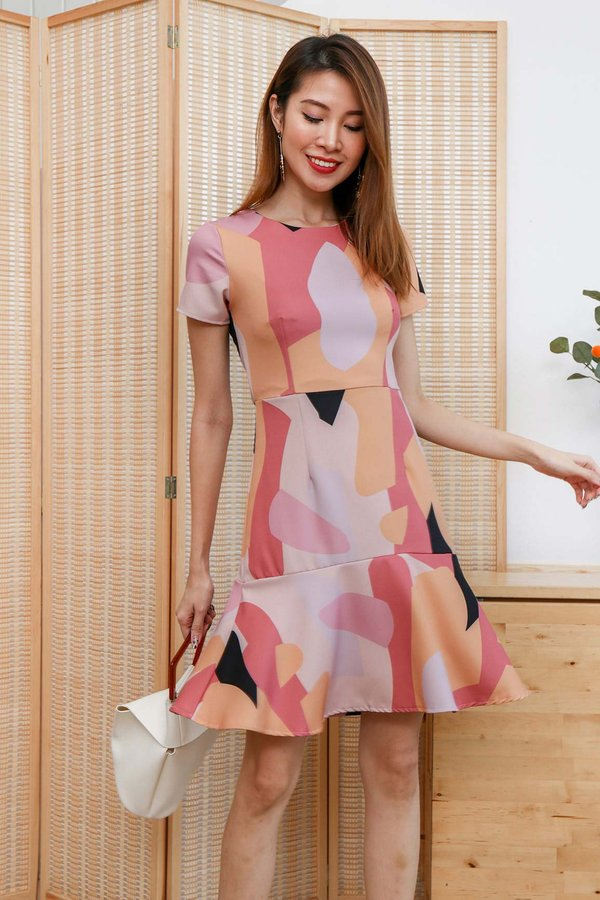 Art of Geometry Dropwaist Dress Pink