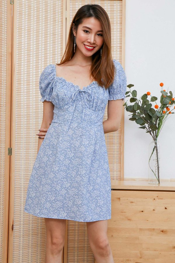 Daisy Demure Fields Tie Front Bustier Puff Sleeve Dress