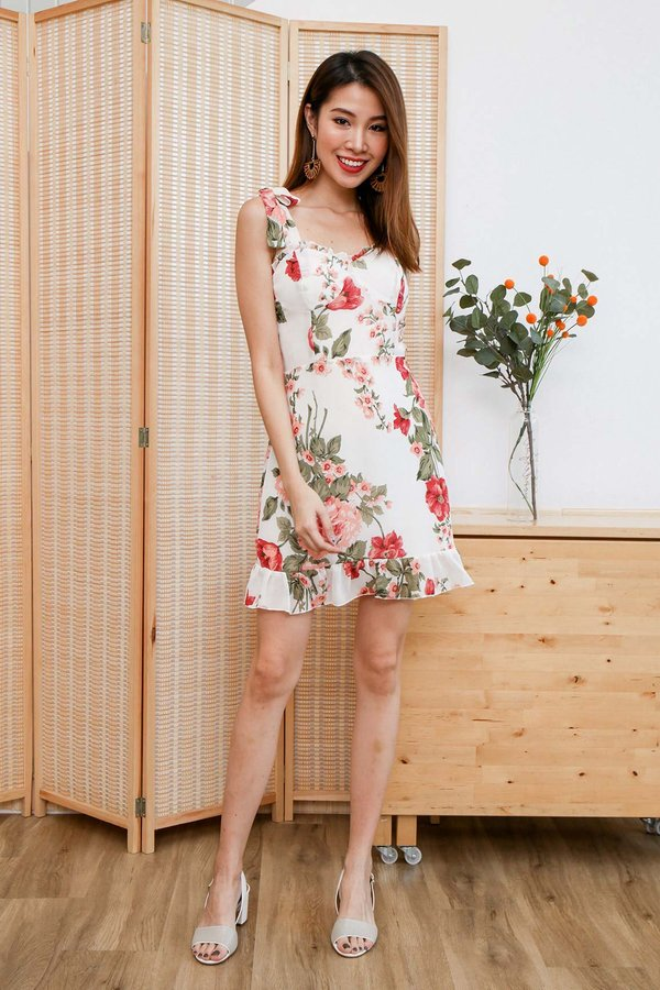 Blooming Peonies Tie String Dress