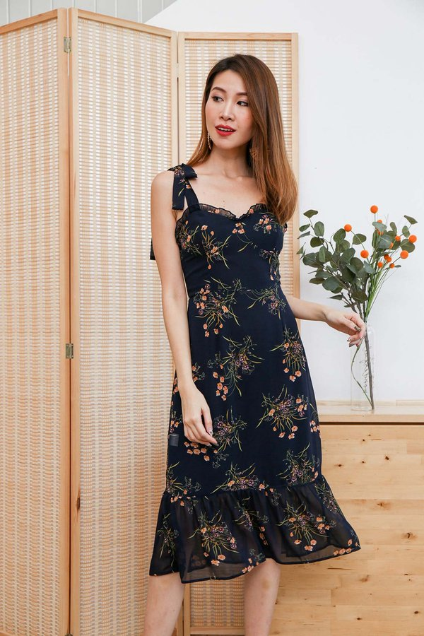 Blooming Bustier Dropwaist Midi Dress Midnight Blue