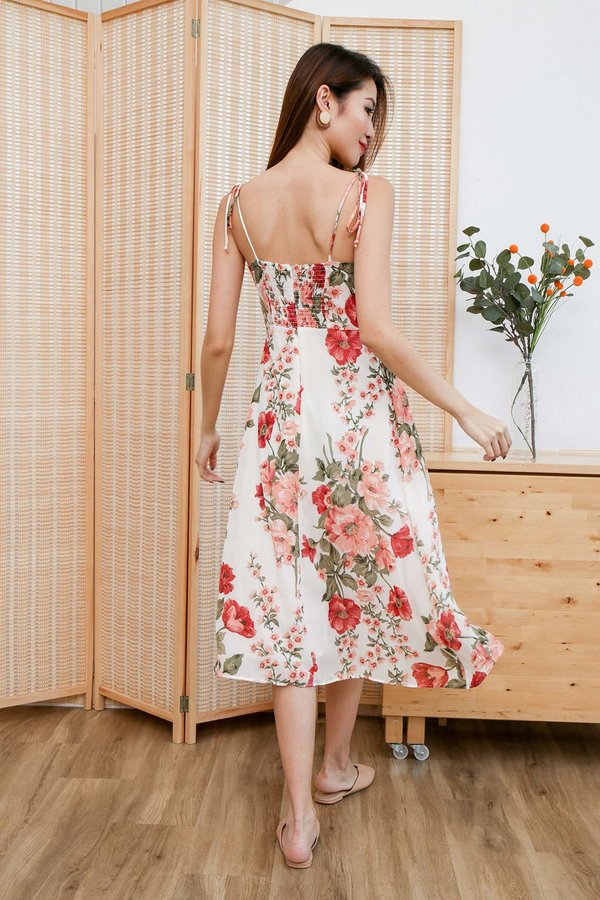 Peonies Prairie Tie String Midi Dress