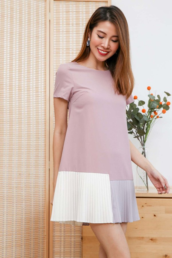 Tricolour Triumph Micro Pleats Dress Pink