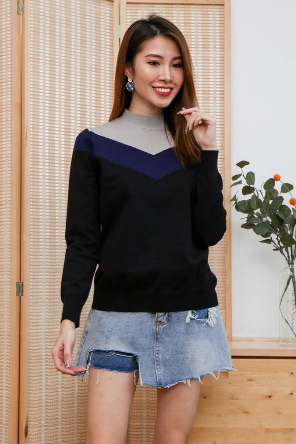 Coloured Chevrons Knit Pullover Black