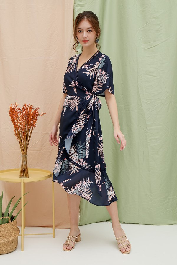 Serendipity Spin Floral Ruffle Wrap Midi Dress Navy Blue