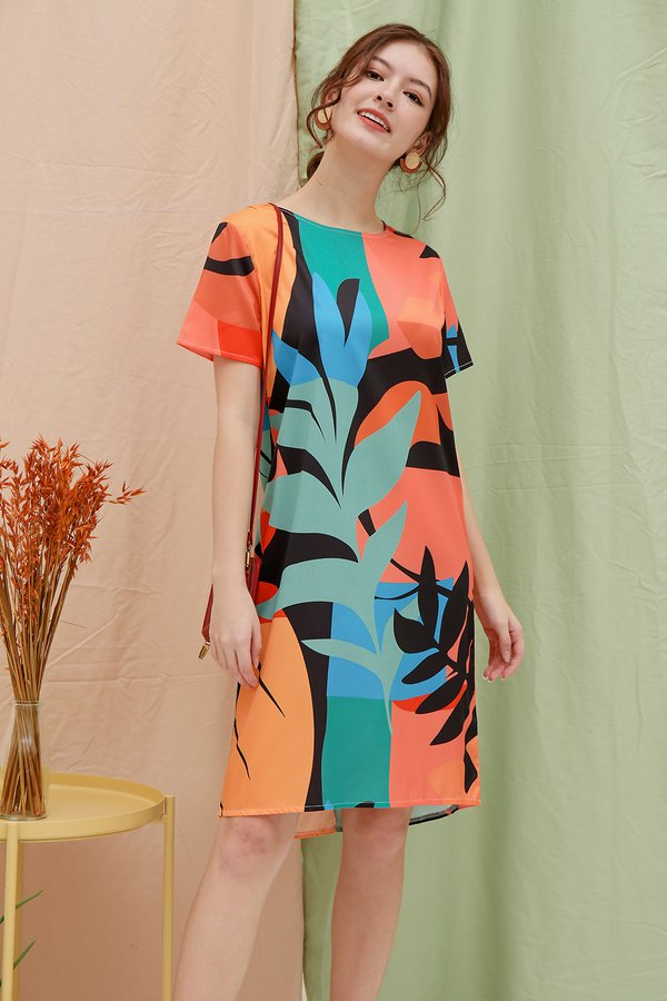 Palms Sunset Canvas Abstract Shift Dress