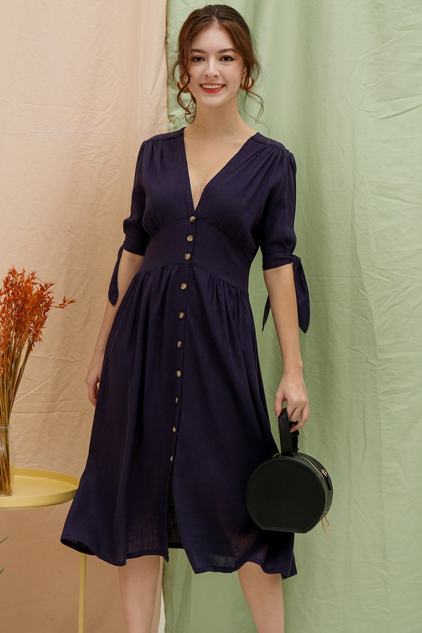 Beguiling Buttons Linen Midi Shirt Dress Navy Blue