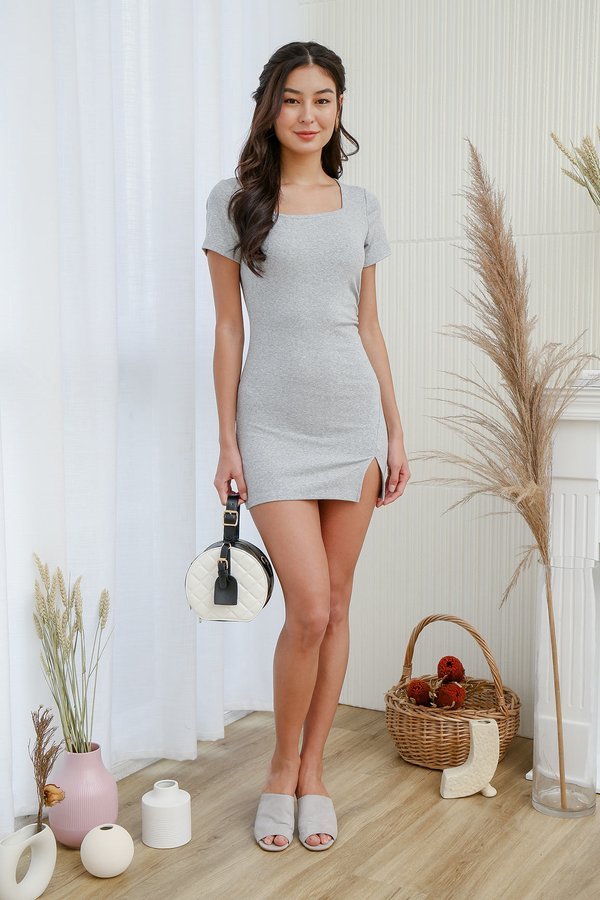 Weekend Mindset Bodycon Ruched Tee Dress Ash Grey