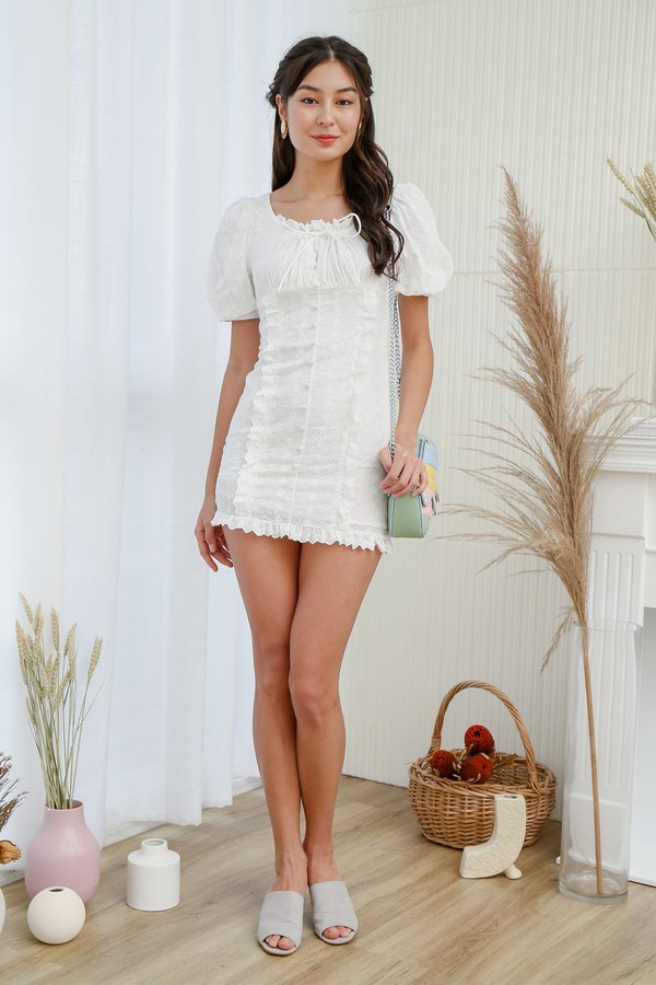 Poufy Frilly Ruches Button Eyelet Dress