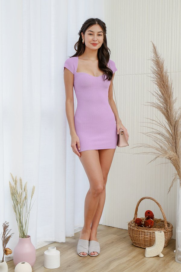 The Shapely Sweetheart Bodycon Ribbed Knit Dress Lilac