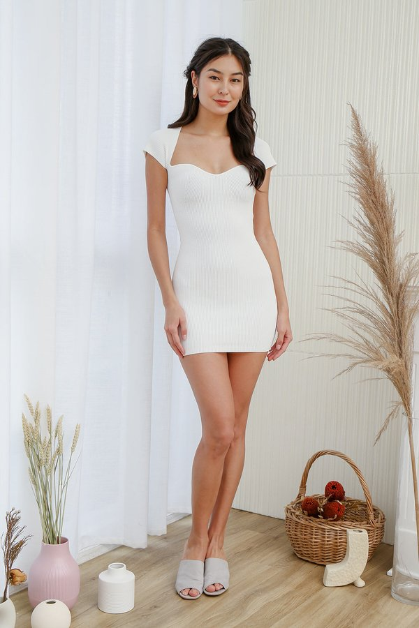 The Shapely Sweetheart Bodycon Ribbed Knit Dress White