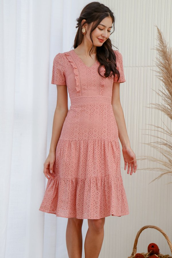 Tiers of Joy Eyelet Midi Dress Pink