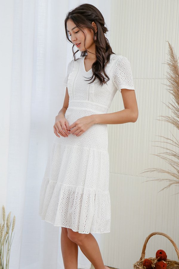 Tiers of Joy Eyelet Midi Dress White