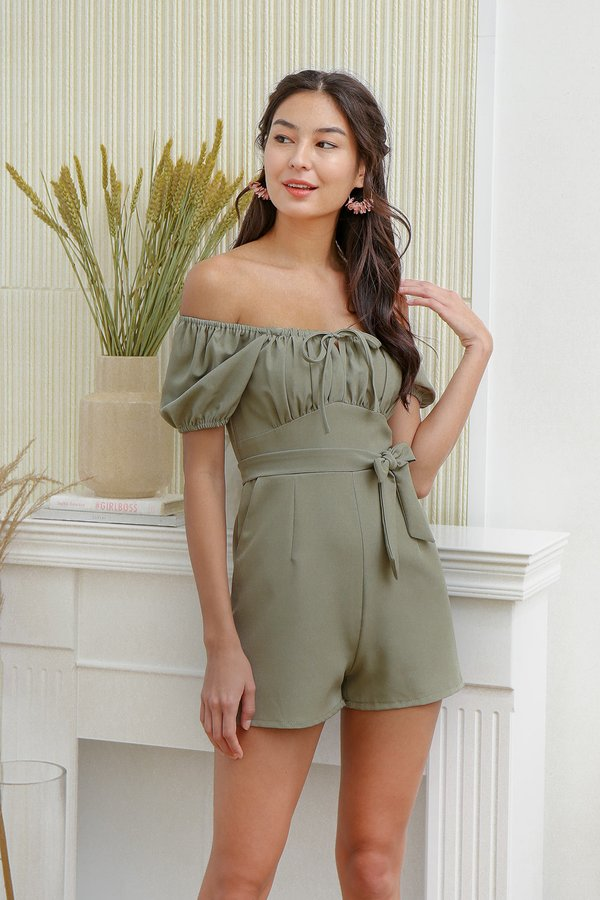 Pastoral Posterity Ruched Tie Bust Romper Sage Green