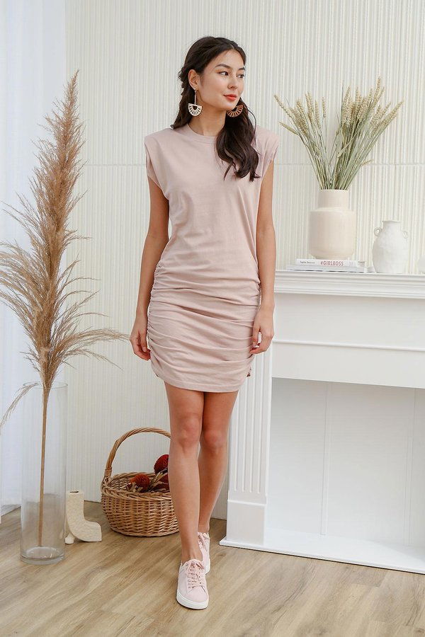 Ruching does the Body Good Muscle Tee Dress Nude Pink