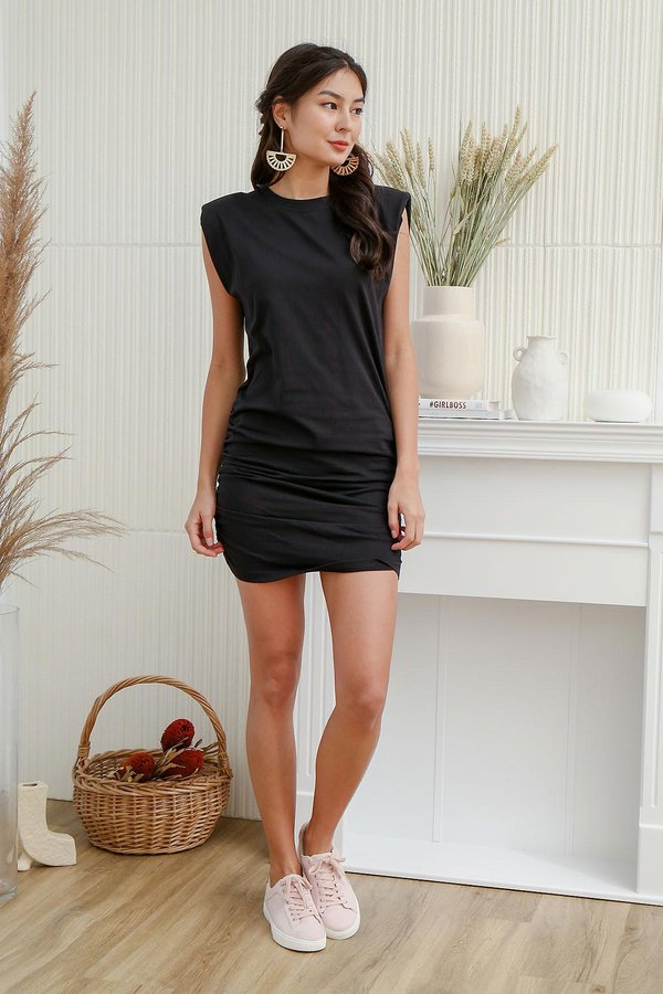 Ruching does the Body Good Muscle Tee Dress Black