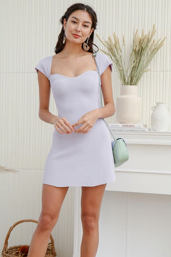 The A-Line Sweetheart Shaper Ribbed Knit Dress Lilac