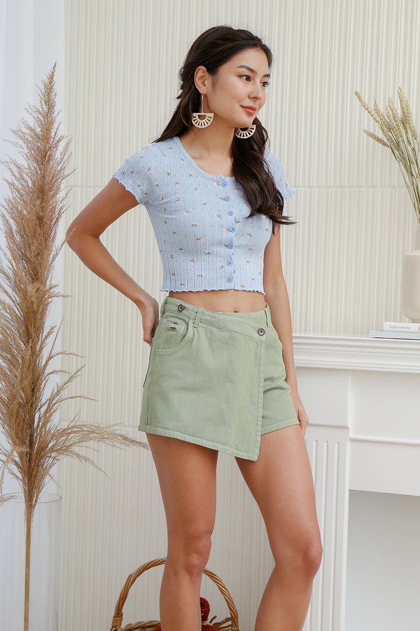 Pocket Full of Posies Button Ribbed Knit Tee Blue