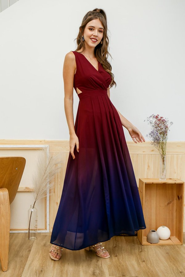 Holiday Encore Wrap Maxi Dress Dusk