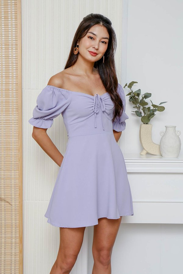 Roam Free Ranch Ruched Tie Bust Dress Lilac