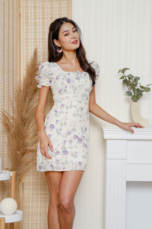 Lavender Fields Floral Ruched Milkmaid Dress