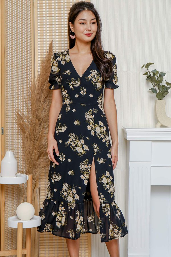 Melody of Flowers Slit Maxi Dress