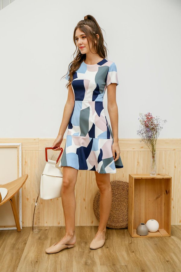 Art of Geometry Dropwaist Dress Blue