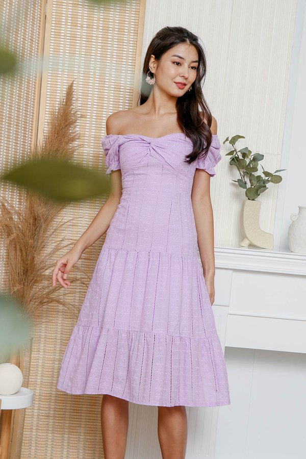 Sun Dappled Strolls Broderie Ruched Tier Midi Dress Lilac