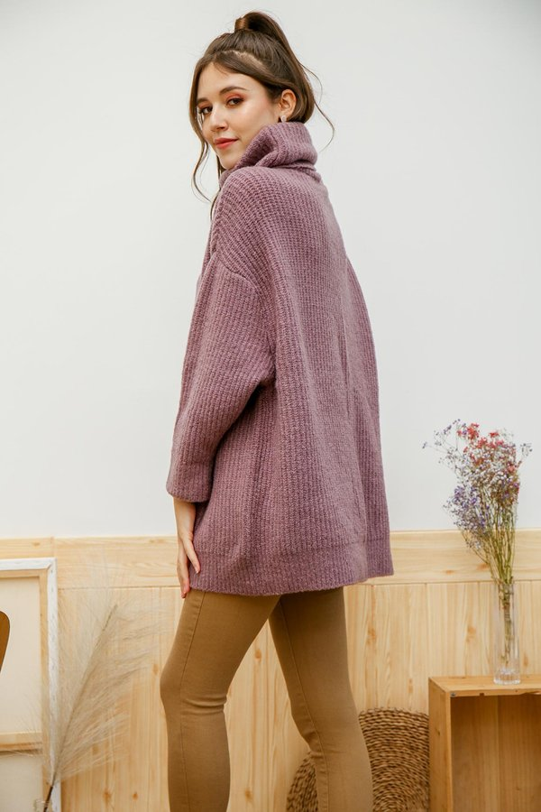 In the Mood for Rouge Knit Turtleneck Pullover