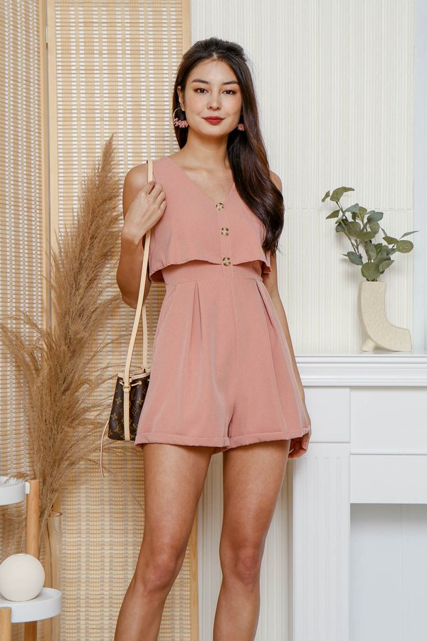 Cruising Through Buttons Overlay Romper Pink
