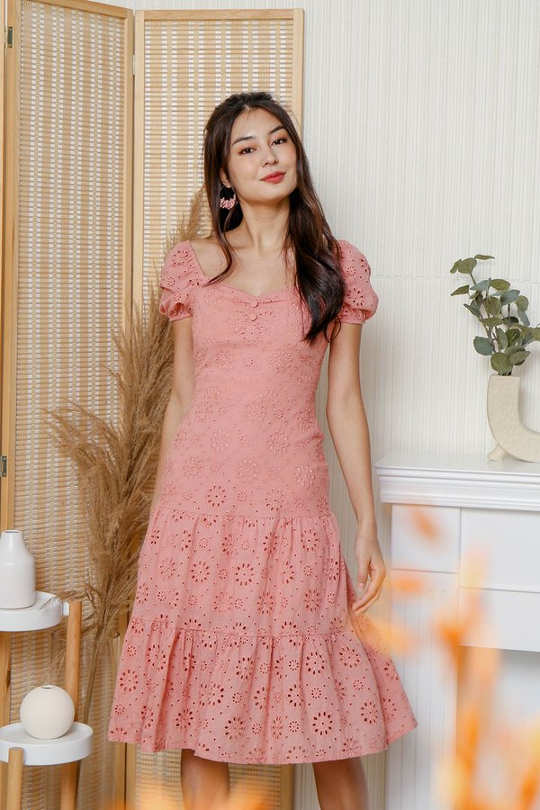 Trigger Happy Tiers Eyelet Midi Dress Pink