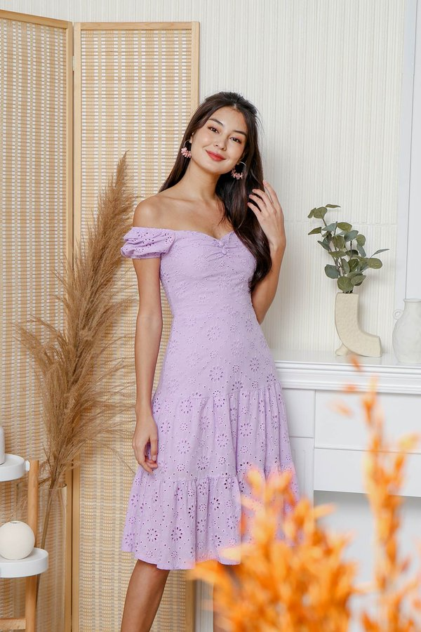 Trigger Happy Tiers Eyelet Midi Dress Lilac