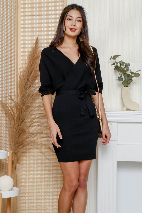 Luxe Wrapped Holiday Knit Dress Black