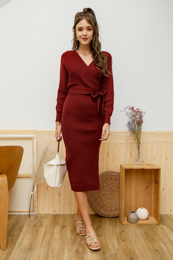 Luxe Wrapped Holiday Knit Midi Dress Burgundy Red