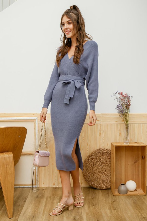 Luxe Wrapped Holiday Knit Midi Dress Blue Grey