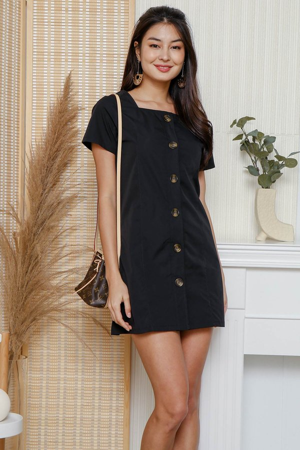 Structurally Squared Off Button Shirt Dress