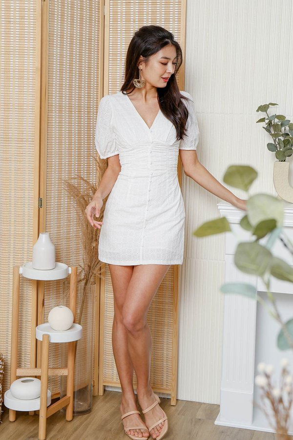Pieces of Summer Eyelet Ruched Button Dress