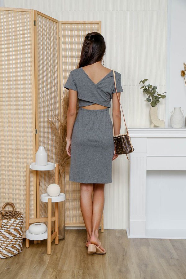 At Your Leisure Cross Back Jersey Tee Dress Ash Grey