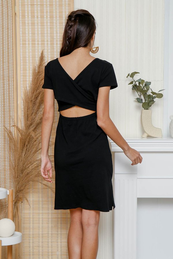 At Your Leisure Cross Back Jersey Tee Dress Black