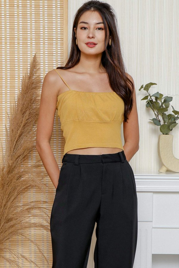 And Sew Forth Ruched Knit Crop Cami Top Honey Yellow