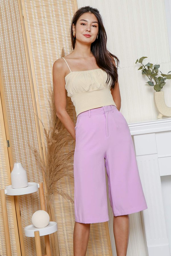 And Sew Forth Ruched Knit Crop Cami Top Cream