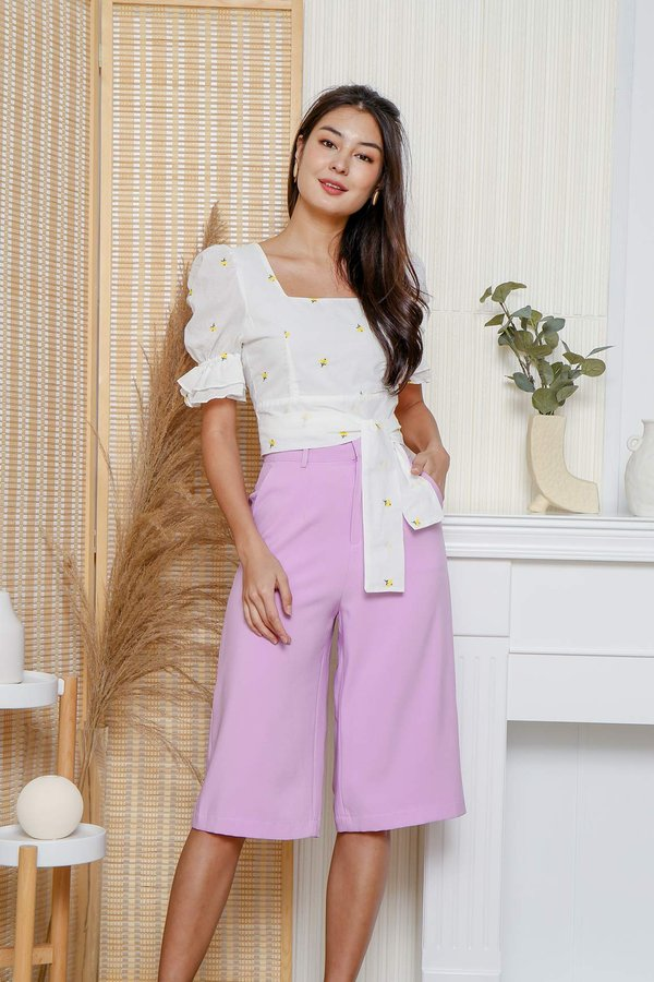 Dreamy in Ditsy Broderie Crop Tie Top White