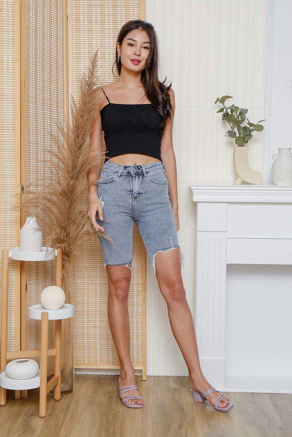 And Sew Forth Ruched Knit Crop Cami Top Black