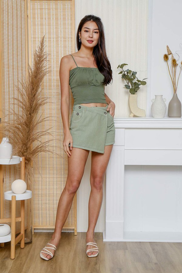 And Sew Forth Ruched Knit Crop Cami Top Olive Green
