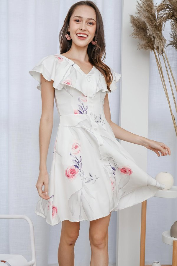 Flurry of Florals Button Pocket Dress White