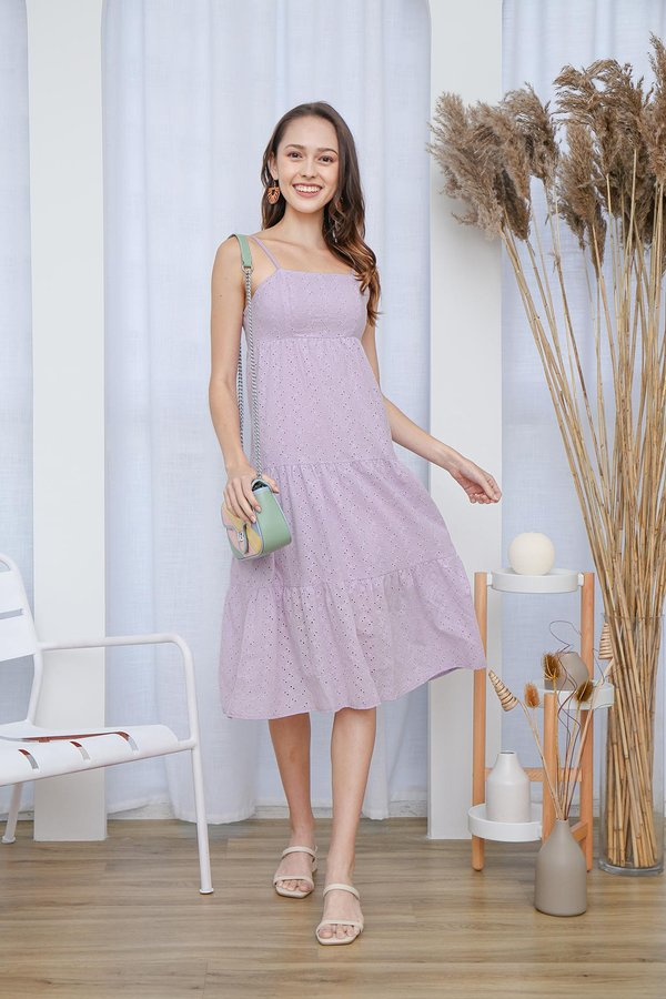 Tiers in my Eyelets Swing Midi Dress Lilac